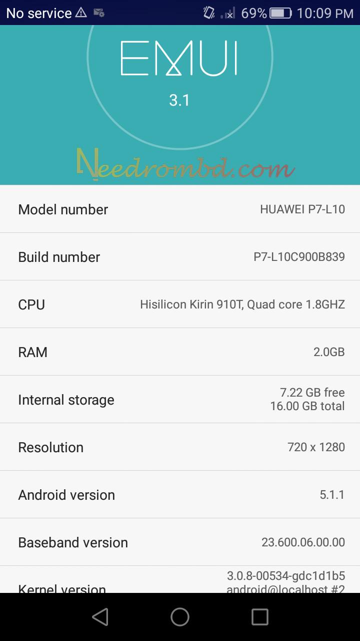 Huawei P7-L10 Firmware Boot info